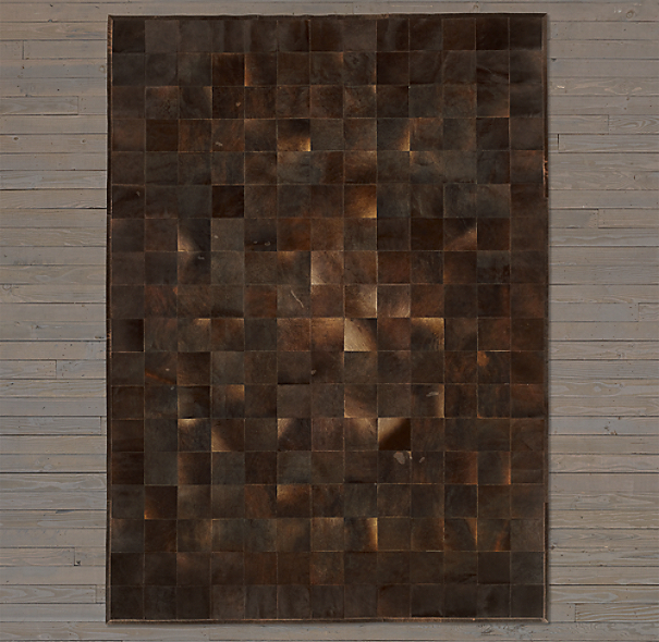 Argentine Cowhide Tile Rug Swatch - Chocolate