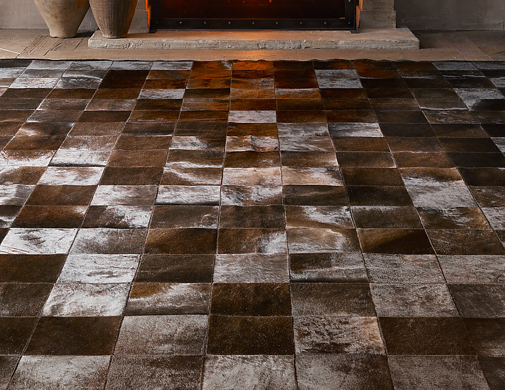 Argentine Cowhide Tile Rug - Chocolate
