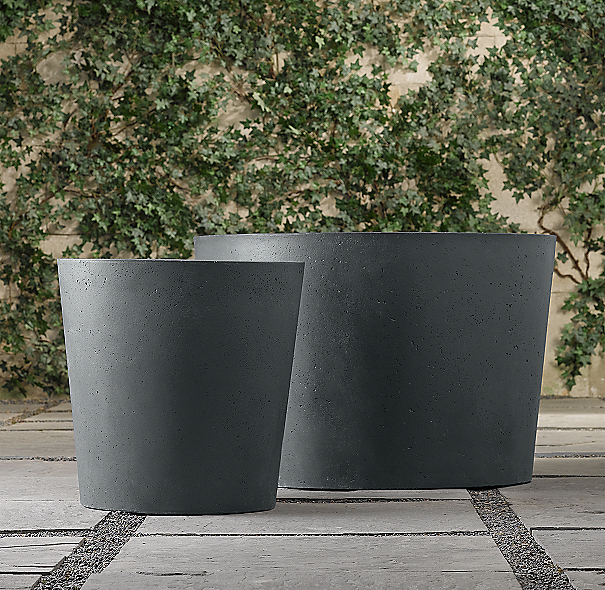 Weathered Cast Stone Round Planters