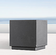 Weathered Cast Stone Cube Planter