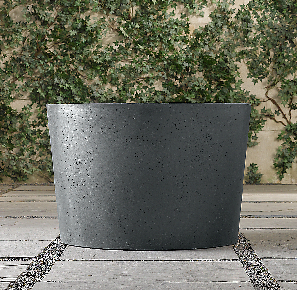 Weathered Cast Stone Round Planter