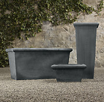Estate Zinc Tapered Low Square Planter