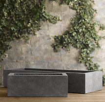 Weathered Cast Stone Tabletop Trough Planter