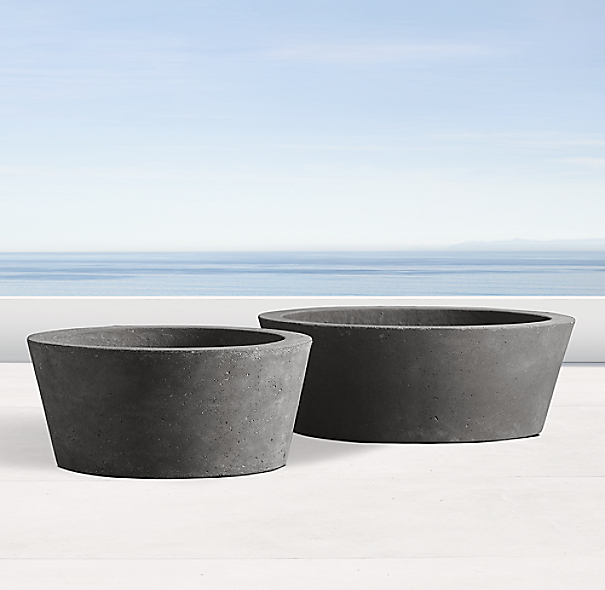 Weathered Cast Stone Tabletop Round Planter