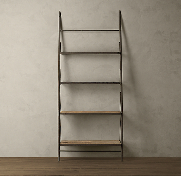 Reclaimed Elm & Iron Leaner Shelving