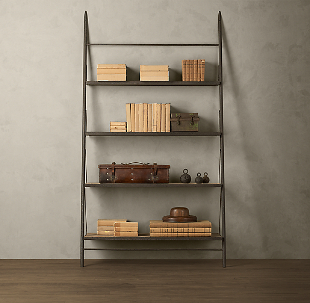 Reclaimed Elm & Iron Leaner Shelving Wide