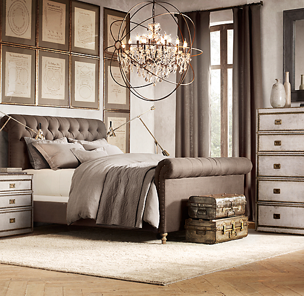 chesterfield upholstered sleigh bed, restoration hardware, upholstered linen tufted sleigh bed.