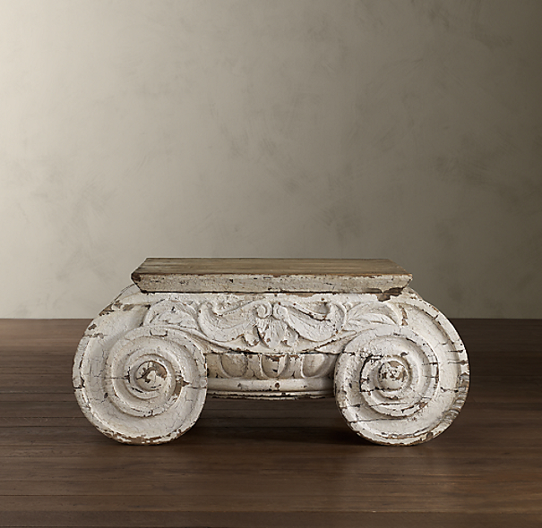 Distressed Ionic Capital Coffee Table (Set of 2)