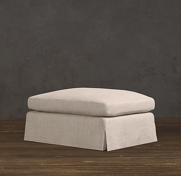 Belgian Classic Roll Arm Slipcovered Ottoman | Ottomans ...