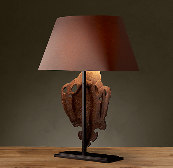 Bruges Iron Shield Artifact Table Lamp