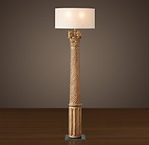 Hand-Carved Corinthian Column Floor Lamp