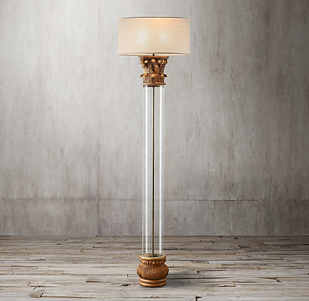 Corinthian Capital Glass Floor Lamp