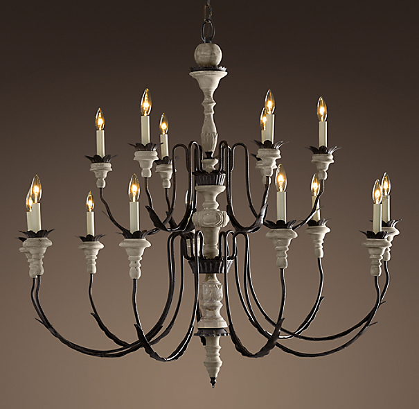 Parisian Wood & Zinc 15-Arm Chandelier