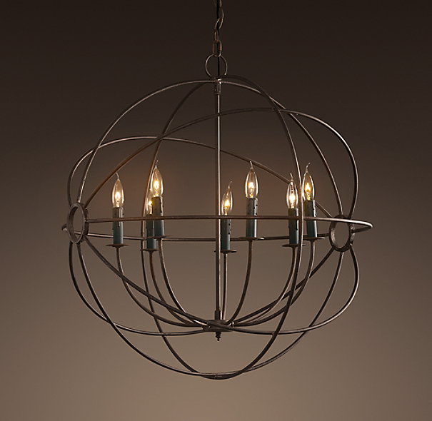Foucault's Iron Orb Chandelier Rustic Iron Medium