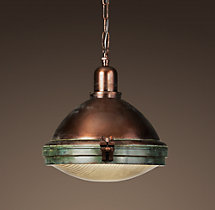 Prismatic Glass Copper Pendant