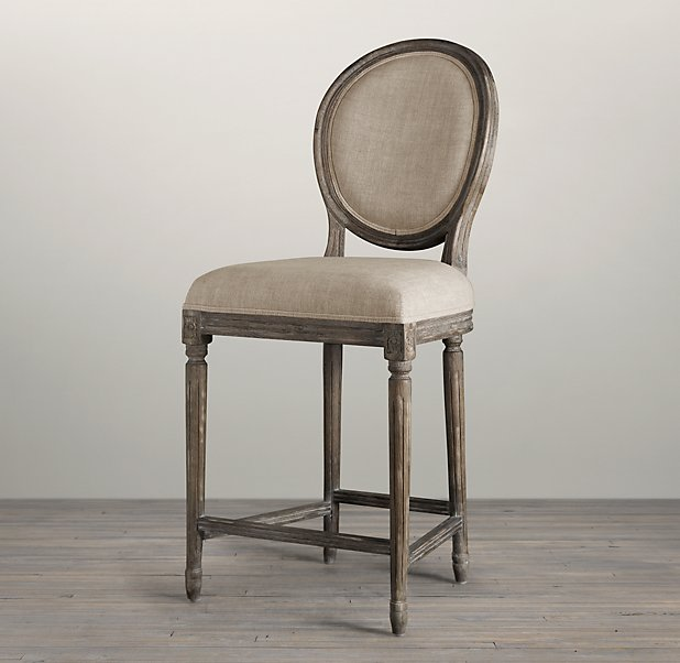 Vintage French Round Upholstered Counter Stool in Burnt Oak from Restoration Hardware