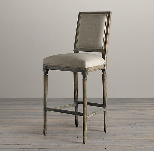 Counter Stools Restoration Hardware: Vintage French Square Fabric Stool