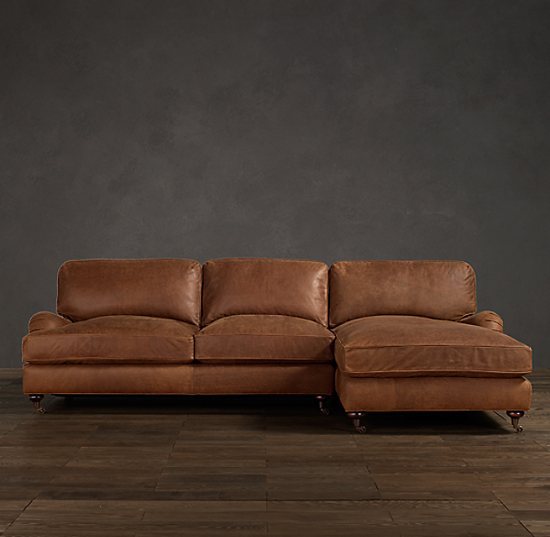 English Roll Arm Leather Sofa Chaise Sectionals