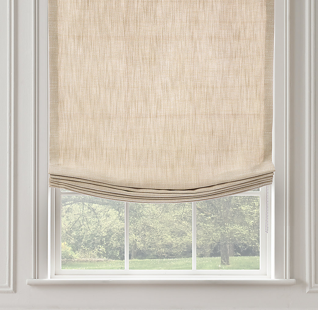 Burlap window shades - Perennials 174 Textured Linen Relaxed Roman Shade