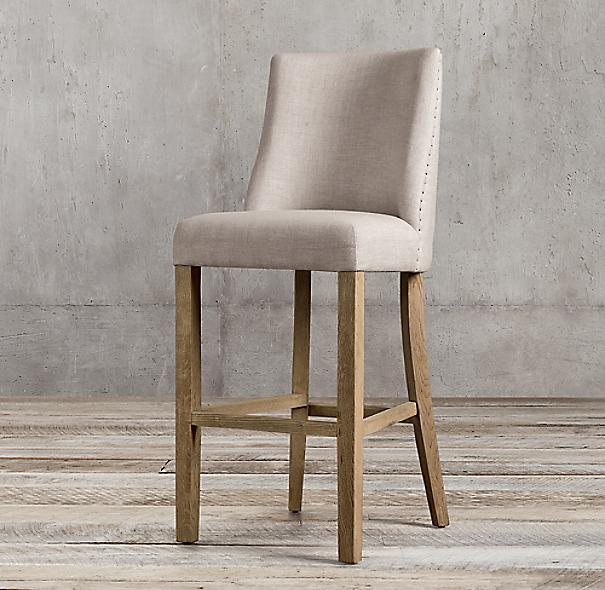 1940s French Barrelback Upholstered Barstool
