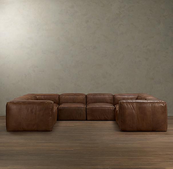 Fulham Leather U Sofa Sectional