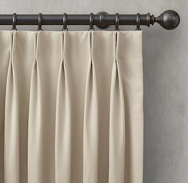 Custom Sunbrella Canvas 2 Fold French Pleat Drapery