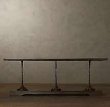 "92"" 19th C. French Zinc and Cast Iron Console"
