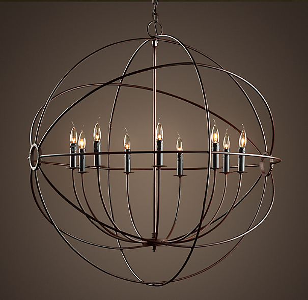 Foucault's Iron Orb Chandelier Rustic Iron Large