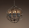Foucault's Iron Orb Chandelier Rustic Iron Small