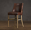 1940s French Leather Barrelback Barstool