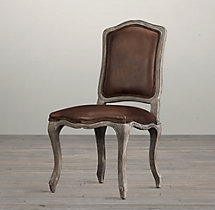 Vintage French Camelback Leather Side Chair