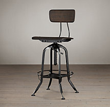 Vintage Toledo Bar Chair Distressed Black