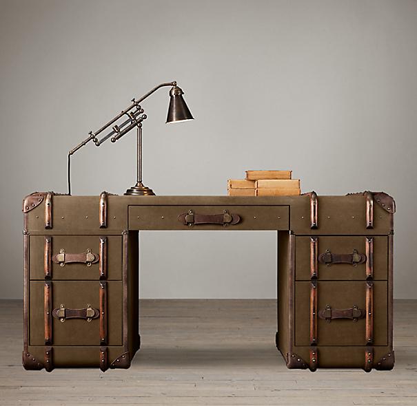 Richards Trunk Desk Beige Canvas