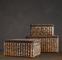 Seagrass Storage Boxes Chocolate