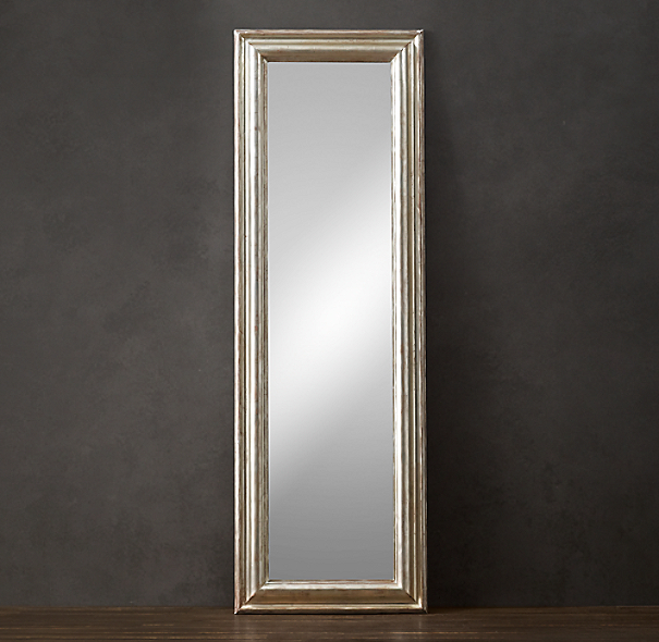Baroque aged silver leaf leaner mirror for Baroque leaner mirror