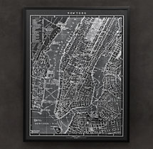 1900s Lithograph Map of New York