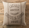 Vintage French Grain-Sack Linen Lachaze Pillow Cover