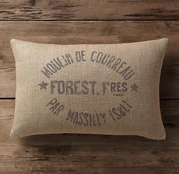 Vintage French Grain-Sack Linen Lumbar Pillow