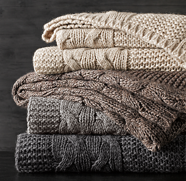 Italian Wool & Alpaca Cable Knit Throws