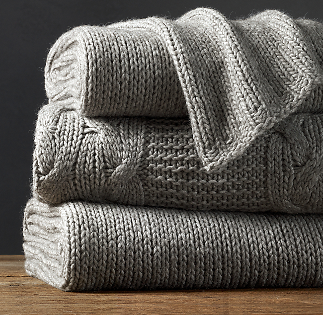 Italian Wool & Alpaca Knit Throw - Fog