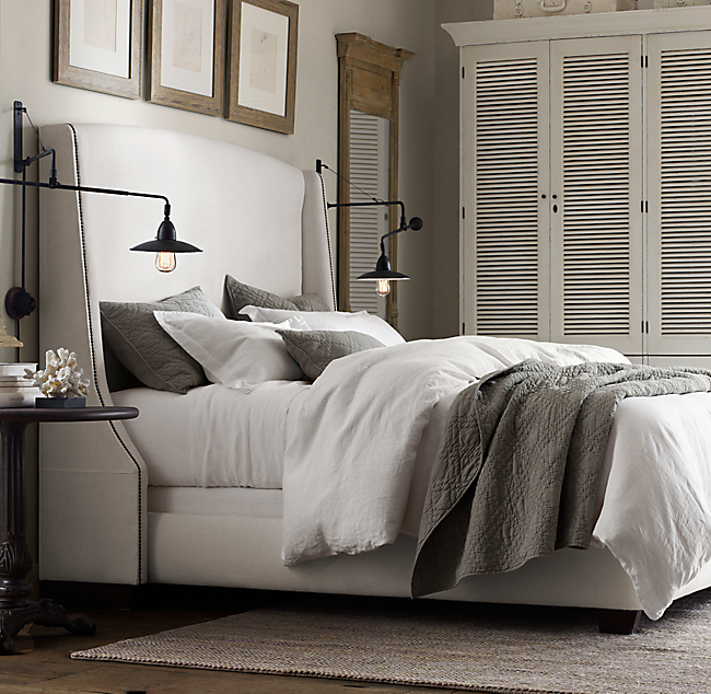 Restoration hardware stone washed belgian linen duvet pillow shams and bedskirt Master bedroom bed linens