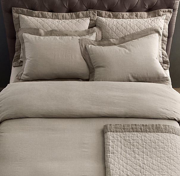 Stonewashed Framed Belgian Linen Pillowcases (Set of 2)