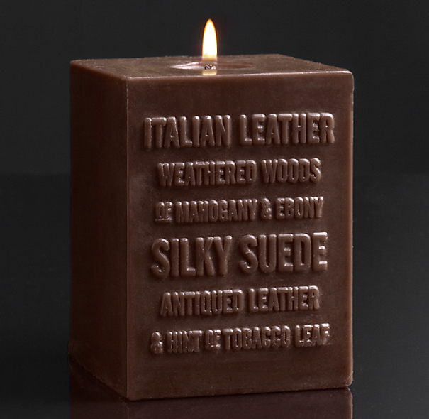 Italian Leather Pillar Candle