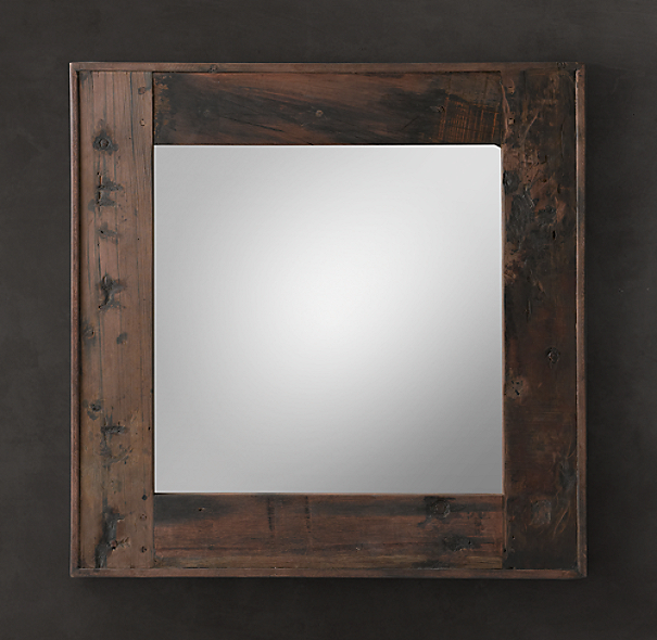 Salvaged Boat Wood Mirror Square