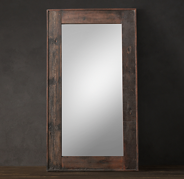 Salvaged boat wood leaner mirror for Large wall mirror wood frame