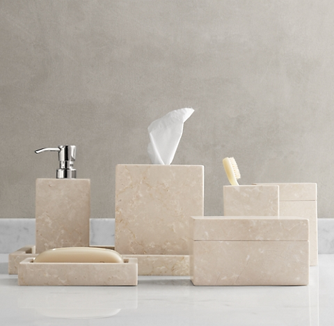 Countertop accessories rh for Marble toilet accessories