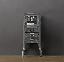 Pharmacy Short Cabinet with Drawers Burnished Steel