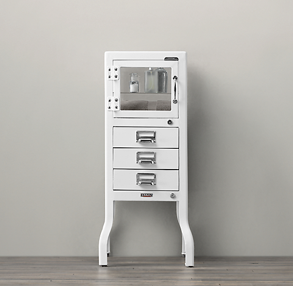 Pharmacy Short Cabinet with Drawers White