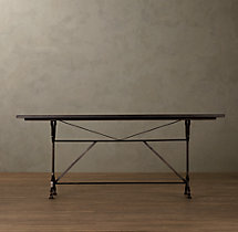 "60"" Factory Zinc & Cast Iron Rectangular Dining Table"