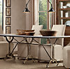 "72"" Factory Zinc & Cast Iron Rectangular Dining Table"